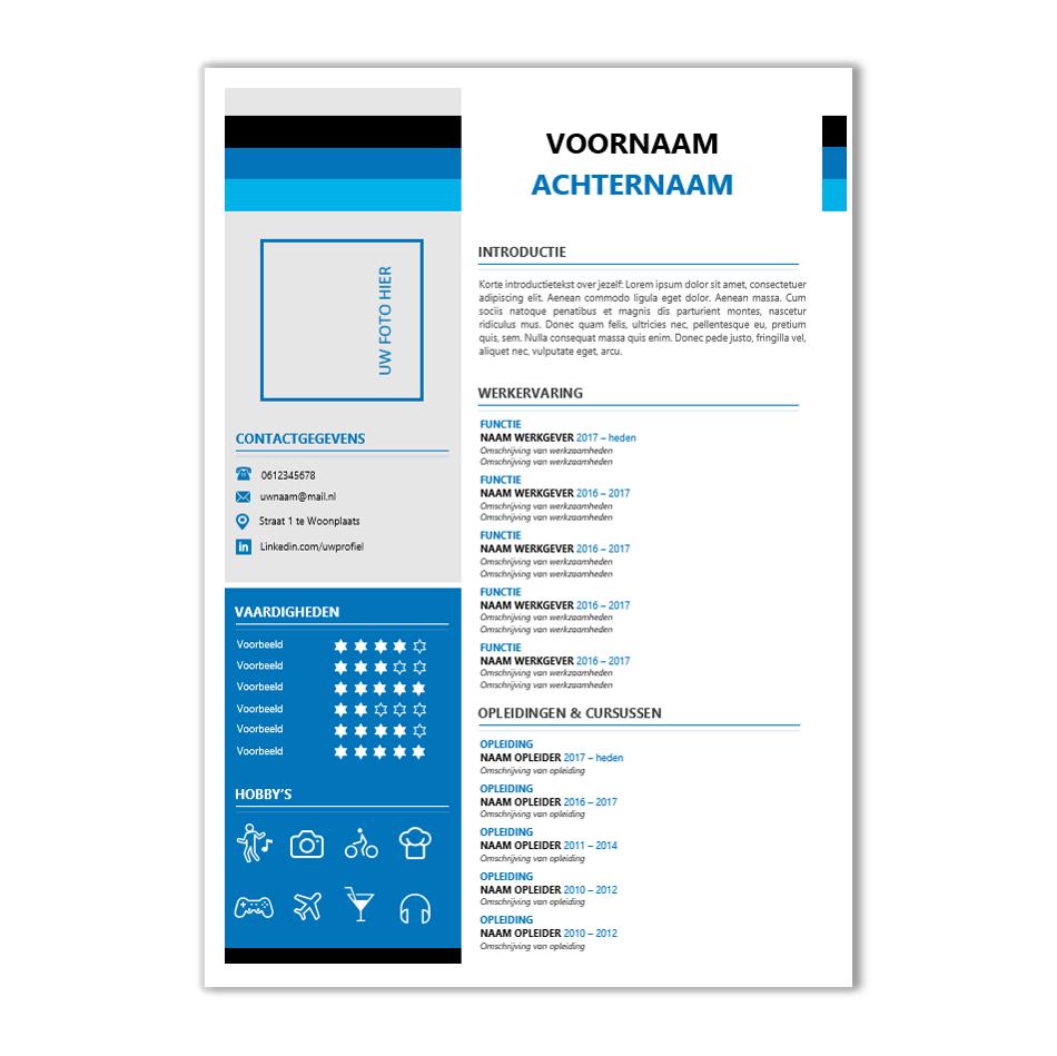 Modern CV format nodig? Download hier een kant & klaar CV