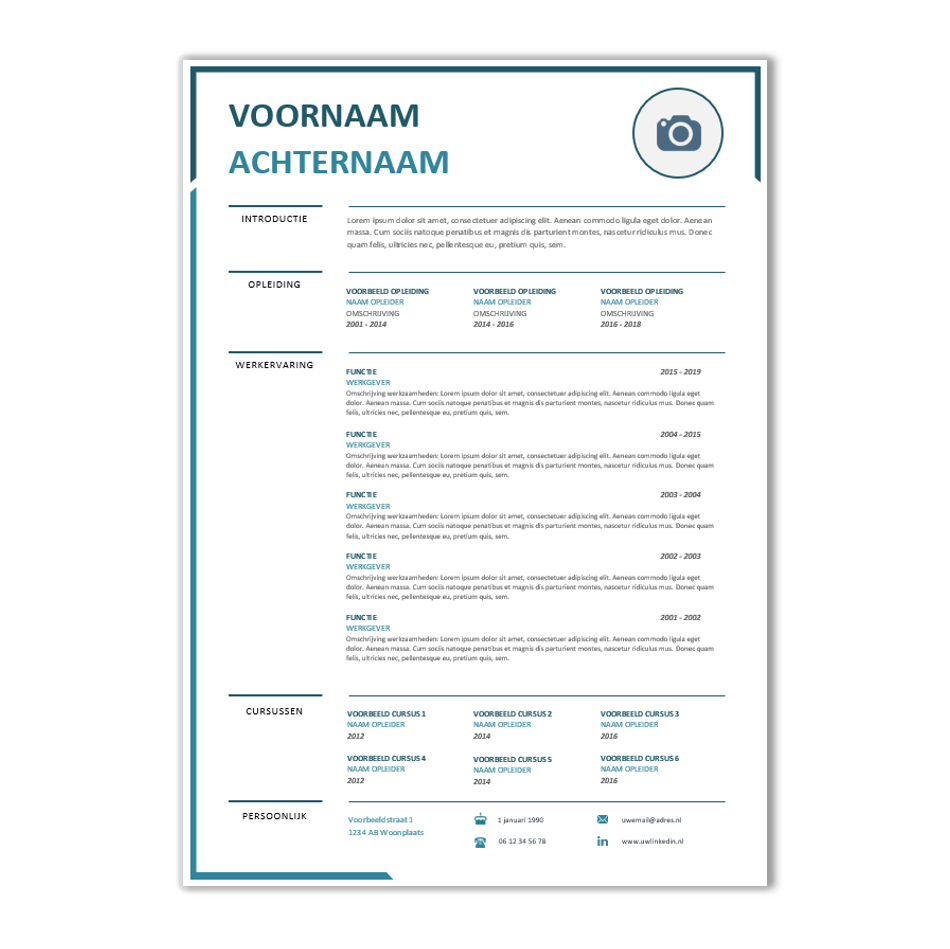 Download Word CV sjabloon 32 | CV voorbeelden.nl