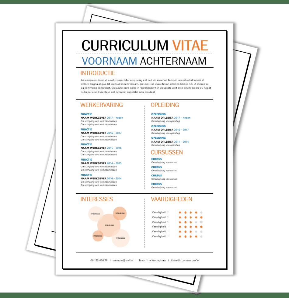 Creatief CV opmaak template Word | CV voorbeelden.nl